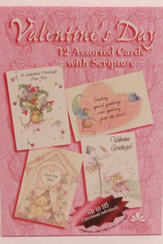 New Vintage Boxed Assorted Valentine Cards With Scripture And