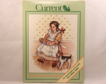 New! 1986 Vintage Current Assortment of Thanksgiving Cards. 4 cards with envelopes.
