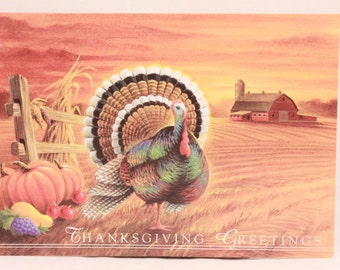 Vintage NuArt Thanksgiving Greeting Card. 1 Card and Envelope. Turkey