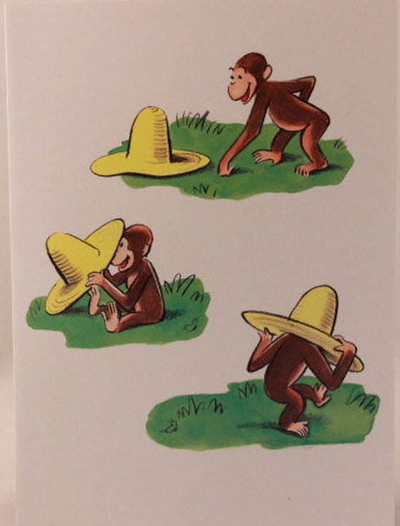 Fabulous New Vintage Curious George Birthday Card And Envelope By Personalised Birthday Cards Veneteletsinfo