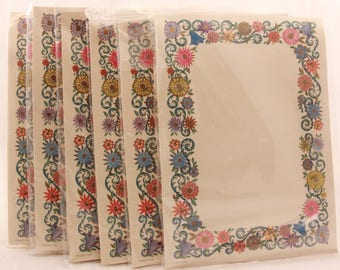 "New/Old Stock! 6 Packages of  ""FlowerArt"" Stationery with Matching Envelopes. 8 Sheets and Envelopes in Each."