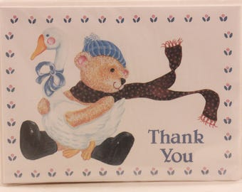 "New/Old Stock ""Thank You"" Cards. 10 Notes and Envelopes. Winter Bear and Goose"