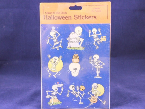 Glow in the Dark Sheet of Vintage Stickers Halloween Gibson Greetings