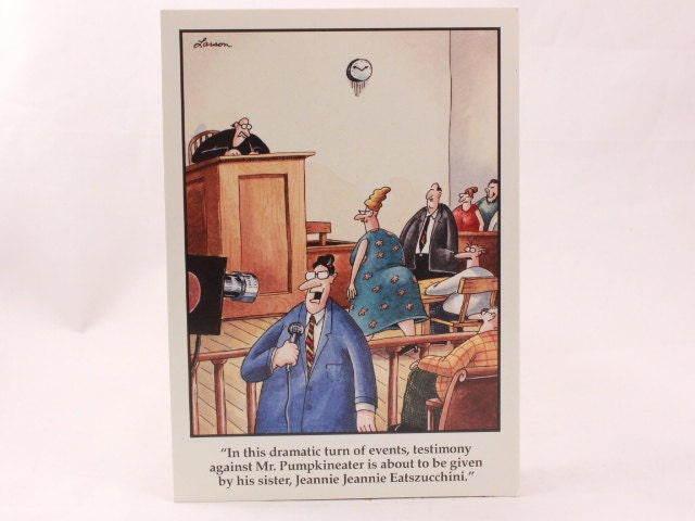 Vintage 1992 Gary Larson Far Side Greeting Card And Envelope Court
