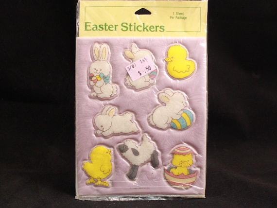 Vintage 1986 Gibson Easter Bunny Puffy Stickers. 1 Sealed Sheets