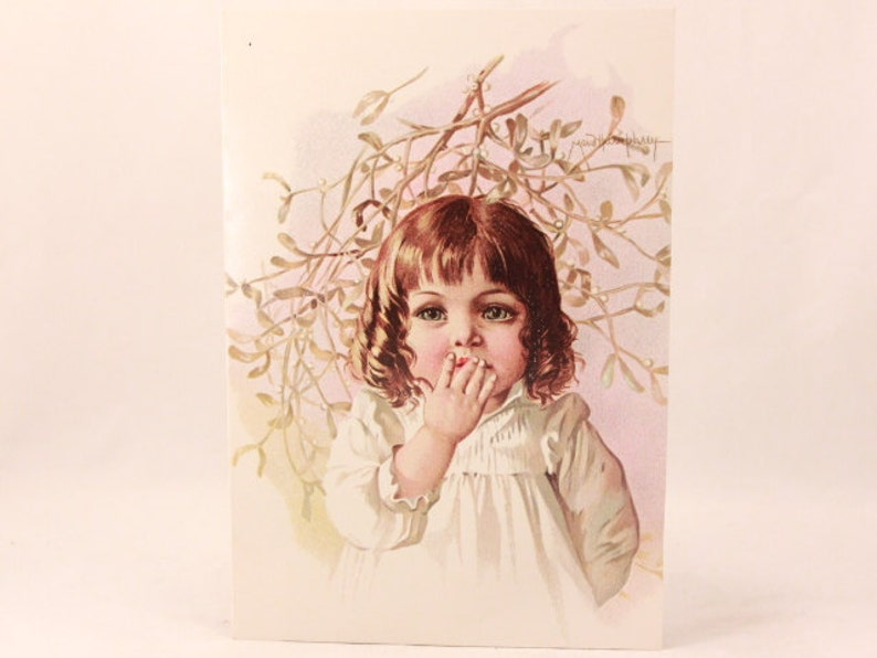 Vintage Gallery Graphics Single Greeting Card with Envelope Mistletoe NEW