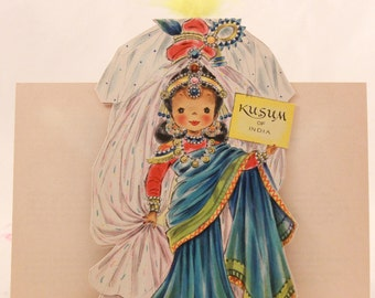 """Vintage/New 1949 Hallmark """"Little Women"""" Doll Greeting Card with Envelope. RARE!!!! with feathers. Kusum of India No.32"""