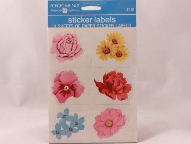 Vintage American Greetings Sticker Labels. 4 Sheets Per Sealed Package. Flowers