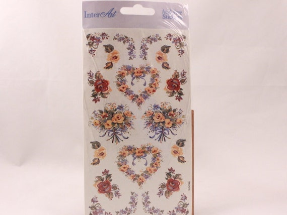 VintageFloral Hearts by InterArt 2 Sheet Stickers. Sealed