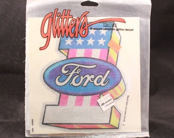 """Vintage Glitters Roach Pressure Sensitive Glitter Ford Decal. 7"""" by 6 1/2"""". 1 Sheet"""