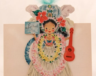 """Vintage/New 1949 Hallmark """"Little Women"""" Doll Greeting Card with Envelope. RARE!!!! with feathers. Leilani of Hawaii No. 28"""
