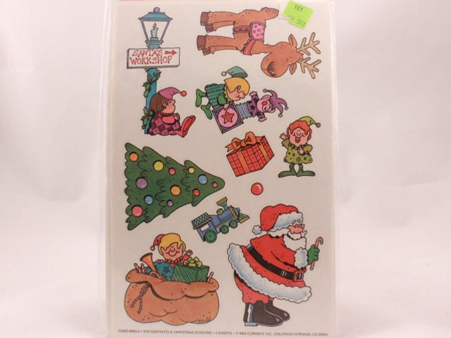 Vintage 1984 Erwin Holiday Stickers. 4 Sealed Christmas Sticker Sheets