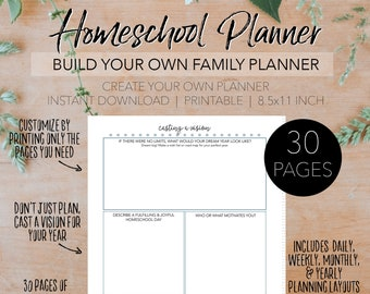 Ultimate Homeschool Planner - Create Your Own Printable Home School Family Planner - INSTANT DOWNLOAD Planning Letter Size 8.5x11 Paper