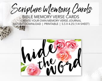 Memory Verse Cards - Create Your Own Memory Verse Journal - INSTANT DOWNLOAD Scripture Memorization Bible Memory Cards Floral Verse Cards