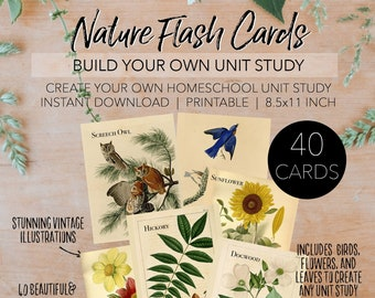 Charlotte Mason Inspired Vintage Nature Flash Cards - Vintage Illustrations - INSTANT DOWNLOAD Planning Letter Size 8.5x11 Paper