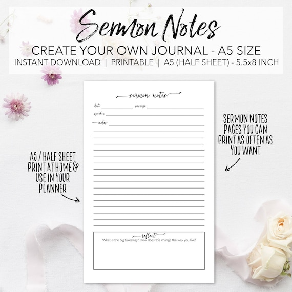 graphic regarding Free Printable 5.5x8.5 Planner Pages referred to as Sermon Notes Printable Planner Webpages - Build Your Personalized Sermon Magazine - Instantaneous Down load Bible Church Review Notes A5 Measurement 50 % Sheet 5.5x8.5