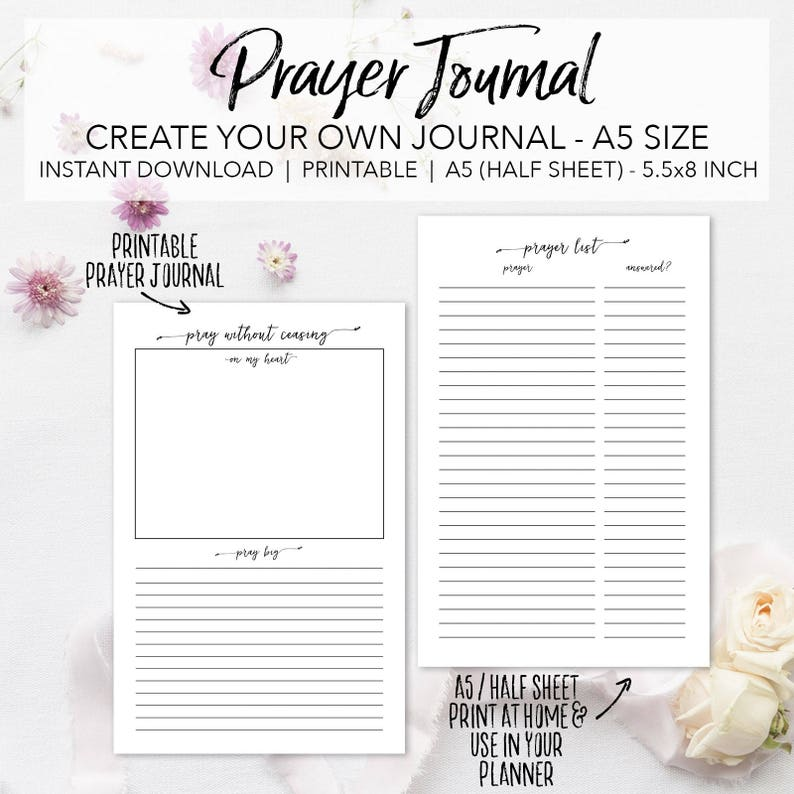 Prayer Journal Planner Insert Pages Create Your Own Faith Journal Instant Download Prayer Request List Bible Study Journal A5 Size