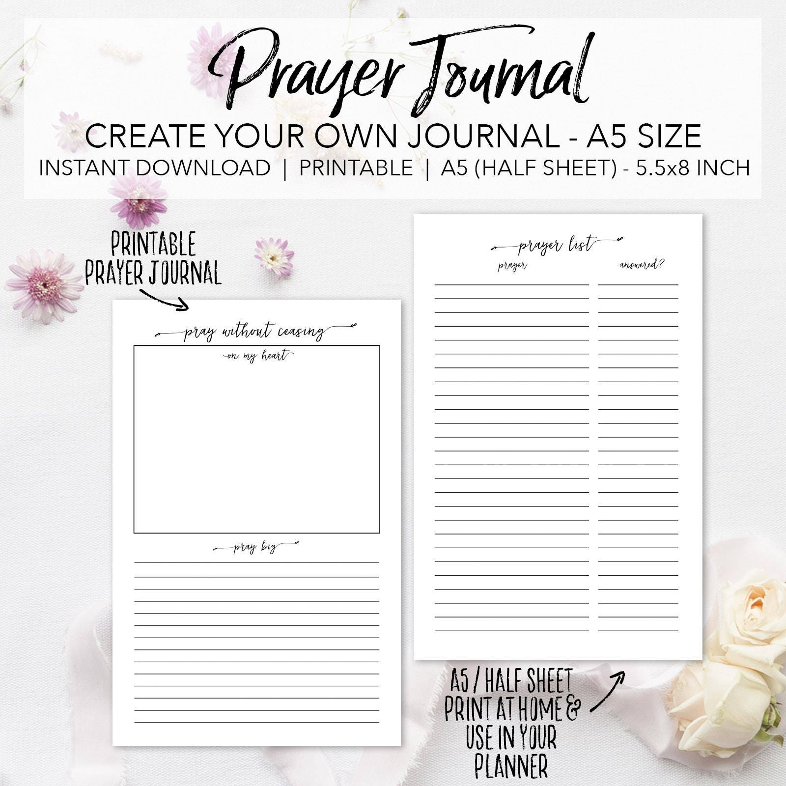 Prayer Journal Planner Insert Pages Create Your Own Faith