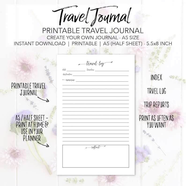 photo regarding Travel Journal Printable identified as Printable Push Magazine Planner Incorporate Web pages - Build Your Particular Drive Magazine - Quick Obtain Trip Coming up with A5 Fifty percent Sheet 5.5x8.5