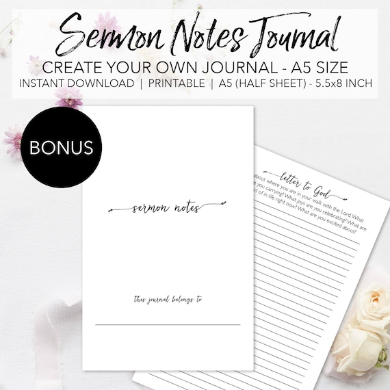 Sermon Notes Printable Planner Pages - Create Your Own Sermon Journal -  INSTANT DOWNLOAD Bible Church Study Notes A5 Size Half Sheet 5 5x8 5