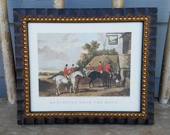 "English Hunt Scene ""Returning From The Hunt""  1 1/8"" Wide Amalfi Ribbed Black & Gold Wood Frame"