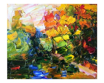 Overgrown Autumn Pond - Original Abstract Art Oil Painting, Impasto Vibrant Paintings Landscapes Bright Leaf Fall Modern Colourful Landscape