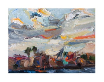 Giclee Fine Art Print, Seascape with Colorful Clouds Original Plein Air Painting Skyscape Oil Paintings Impressionist Arts Sky Seascapes Sea