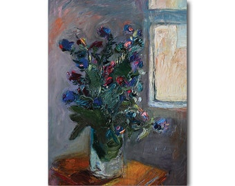 Giclee Fine Art Print - Bouquet of Wild Flowers by the Window, Floral Art Flower Still Life Original Impasto Oil Abstract Painting Paintings