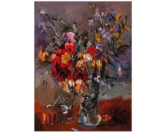Yellow and Red Bouquet of Wild Flowers in a Vase, Original Lovely Beautiful Floral Still life Oil Painting Flower Art Impasto Impressionist