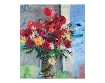 Red Poppies Flowers by the Window, Original Still Life Oil Painting Impressionist Art Poppie Flower Nature Floral Bouquet Blooming Paintings