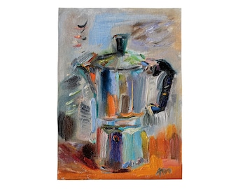 Fine Art Giclee Print - Coffee Maker - Oil Painting on Canvas Still Life Kitchen Dining Room Wall Decor Artwork Loose Style Foodie Gift