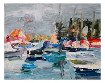 Fine Art Giclee Print, Colourful Gray Morning at the Marina, Plein Air Oil Painting Abstract Impressionist Seascape Boats Harbour Sea Prints
