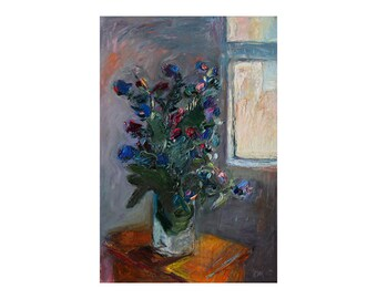 Bouquet of Wild Flowers by the Window - Original Still Life Oil Painting Floral Art Flower Paintings Impasto Gray Grey Expressionist Texture