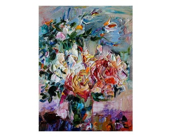 Giclee Fine Art Print - Roses Bouquet Floral Art Beautiful Small Pink Rose Flower Original Textured Impasto Oil Painting Fugitive Colorful