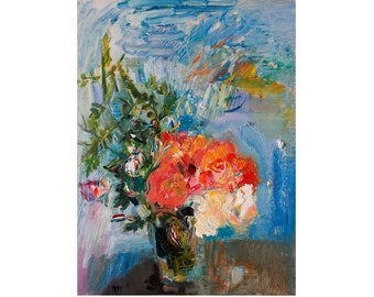 Giclee Fine Art Print - Jasmine and Roses - Floral Art Flower Still Life Beautiful Flowers Original Impasto Oil Abstract Painting Paintings
