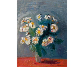 White Daisies in Silver Light - Original Still Life Oil Painting Gray Orange Impasto Texture Floral Flowers Abstract Paintings Impressionist