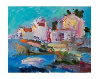 Flying Summer Light, Original Plein Air Painting Abstract Art Oil Seascape Paintings Impressionist Blue Green Turquoise Teal Sea Coastal Sky