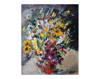 Bouquet - Original Palette Knife Oil Painting, Floral Art Wild Flowers Impasto Yellow Figurative Modern Abstract Still Life Paintings Small