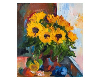 Still Life with Sunflowers and Fruits by the Window, Original Floral Oil Painting Flowers Paintings Yellow Sunflower Blue Impasto Plums Food