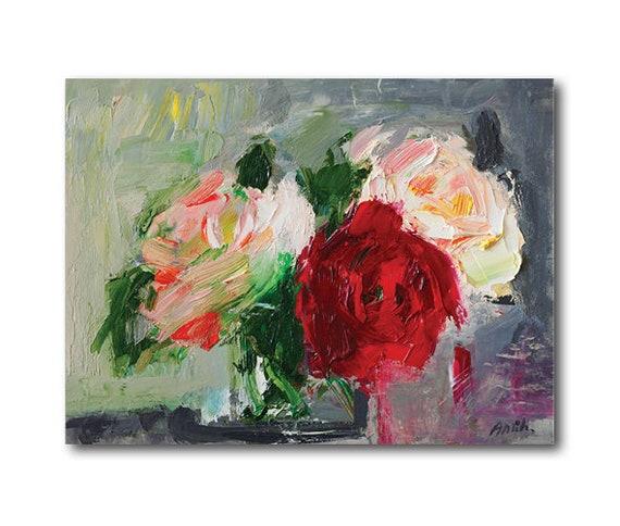 Giclee Fine Art Print Three Fragrant Garden Roses Original Etsy