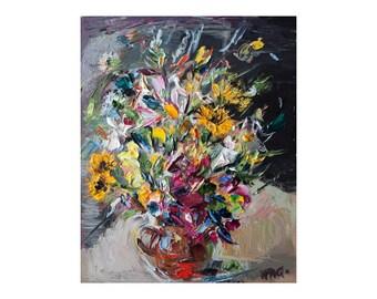 Giclee Fine Art Print, Bouquet, Floral Still Life Oil Painting Canvas Impressionist Impasto Thick Paint Texture Colorful Oils Flower Flowers