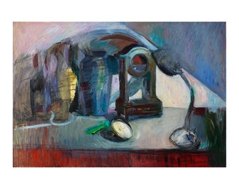 Shadows of Abstract Time - Still Life with Broken Clock, Original Oil Painting Large Format Wall Art Expressionism Oils Paintings Blue Lamp
