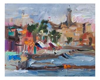 Giclee Fine Art Print, Colorful Morning Original Plein Air Oil Painting Impressionist Art Seascape Outdoor Paintings Impasto Sea Marine Town