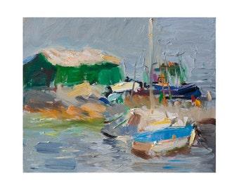 Giclee Fine Art Print, Morning Pier Original Plein Air Painting Impressionist Seascape Outdoor Sky Boat Boats Paintings Prints Seascapes Sea