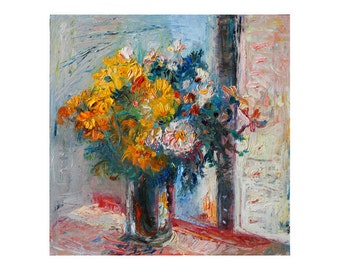 Giclee Fine Art Print Bouquet of Yellow Wild Flowers Original Impressionist Textured Impasto Oil Floral Painting Beautiful Floral Wall Decor