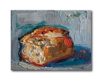 Giclee Fine Art Print - Bread Original Still Life Oil Painting Canvas Kitchen Art Wall Decor Paintings Food Foody Gift Impasto Prints Modern