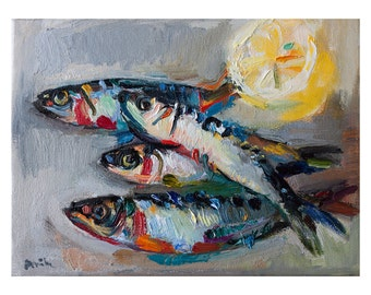 Fine Art Giclee Print - The Sardines, Still Life  Prints Oil Painting Fish Kitchen Wall Decor Food Artwork Foodie Gift Anchovy Sardine Fishy