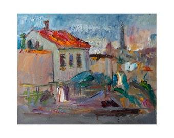 Giclee Fine Art Print - Red Roof Seascape Original Plein Air Oil Painting Impressionist Outdoor Shoreline Sea Coastal Landscape Rocks Europe