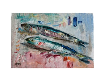 Fine Art Giclee Print - Two Anchovies - Oil Painting on Canvas, Modern  Still Life Fish Kitchen Wall Decor Food Artwork Loose Foodie Gift