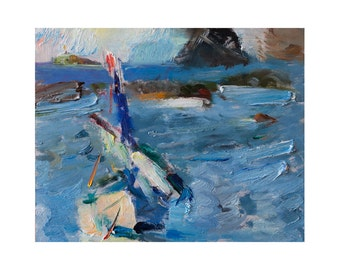 Waves and a Boat - Original Plein Air Oil Painting - Impressionist Outdoor Paintings Boats Sea Boat Seascape Seascapes Abstract Blue Impasto